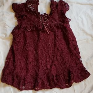 Wine red pleated bottom Top
